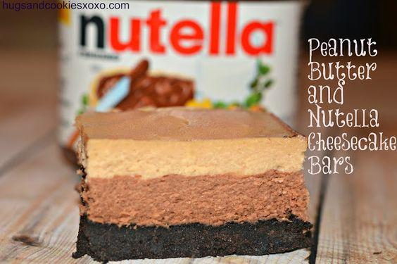 PEANUT BUTTER & NUTELLA OREOS CHEESECAKE BARS