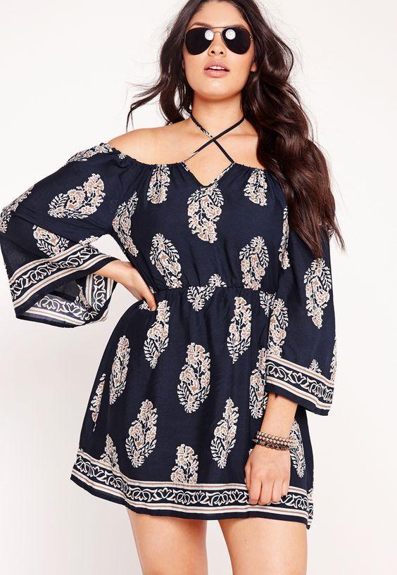 plus size festival print bardot dress navy | uwwww | pinterest