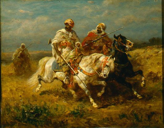 Adolf Schreyer (German, 1828-1899). Arab Riders, ca. 1870s. Oil on panel. 113/8 x 145/8 in. Charles and Emma Frye Collection, 1952.155...
