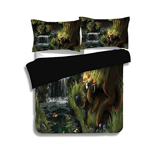 Zomoy Black Duvet Cover Set Queen Size Fantasy House Decor Imaginary Waterfall In The Forest At Night Mushroo Black Duvet Cover Brown And Grey Duvet Cover Sets