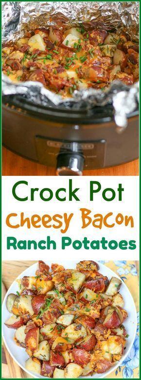 Easy Crock Pot Cheesy Bacon Ranch Potatoes (Slow Cooker Potato
