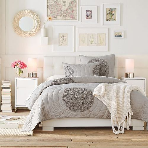 Beautiful grey and white bedroom