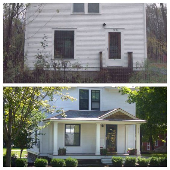 before and after curb appeal add dimension to a plain facade add a front porch and replace. Black Bedroom Furniture Sets. Home Design Ideas