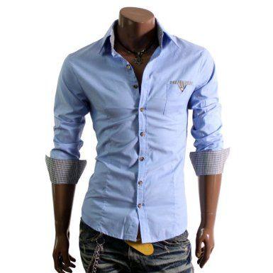 Herren Smokinghemd mit einem karierten Brusttaschen blau(D063): Amazon.de: Bekleidung