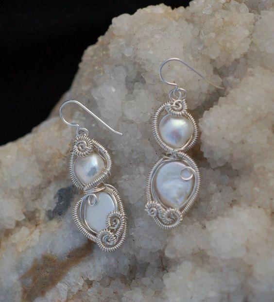 Large Fancy Pearl Earrings in Sterling Silver / by KosmicKrystals