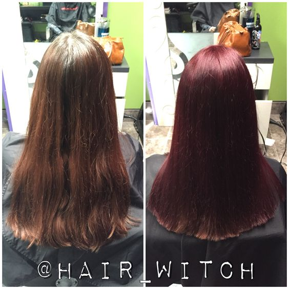 All Over Brighter Red Violet Hair Color Using Matrix SoColor 4RV And 6RV Wi