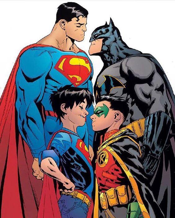 Clark & Jon Kent  Bruce & Damian Wayne.