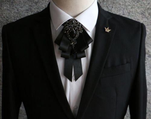Black Rhinestone Crystal Dangle Wedding Men Pre Tied Bow Tie Neck Tie