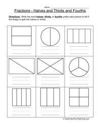 math worksheet : halves thirds fourths worksheet 1  fractions worksheets  : Working With Fractions Worksheets