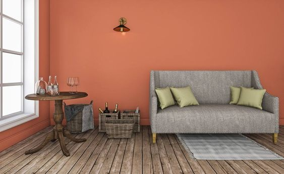 Graue Couch Vor Wand In New Heritage Englischrot Wohnen Schoner Wohnen Farbe Schoner Wohnen Wandfarbe