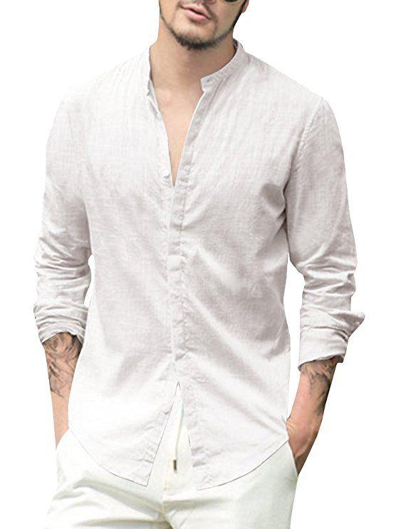 Mens Summer Slim Long Sleeve Button  Youth 100/% Linen Shirt Down Social Shirts