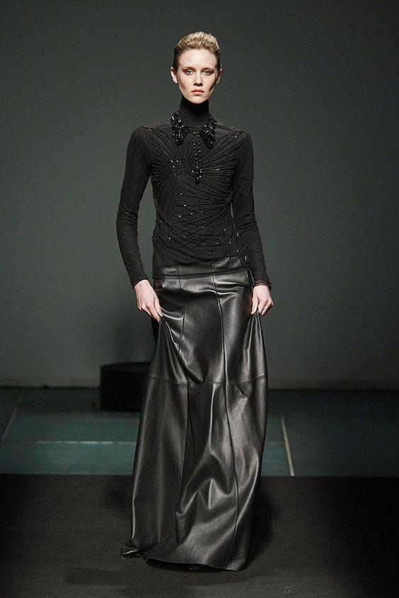 Full Length Leather Skirt