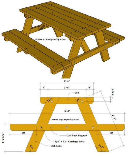 18 Rustic Diy Picnic Tables For An Entertaining Summer Free Plans Diy Picnic Table Picnic Table Picnic Table Plans