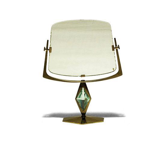 Della Rocca-Table mirror, brass and crystal base