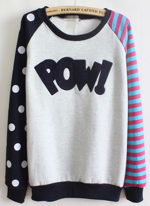 Royal Blue Long Sleeve Striped Polka Dot Sweatshirt: