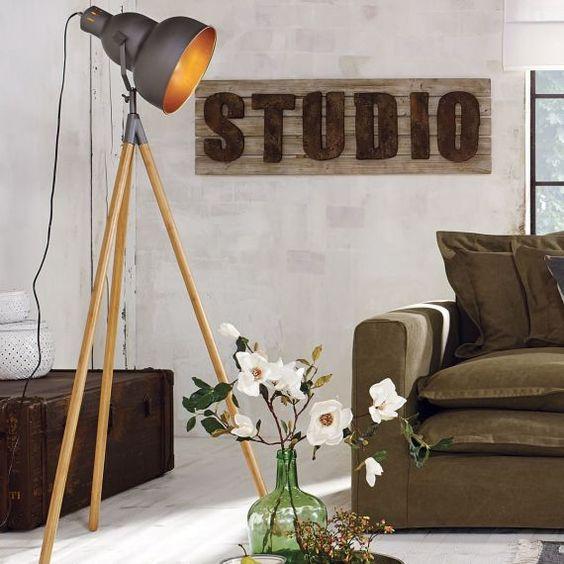 Stehlampe Vincent, Industrial Look, Metall, Bambus , miavilla