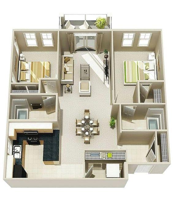 Denah Rumah Minimalis 3 Kamar Tidur 3D 27