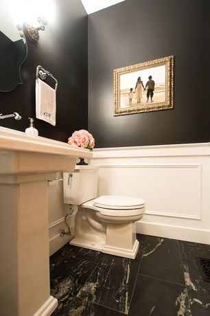 Traditional Powder Room with High ceiling, Pedestal sink, Wainscotting, slate tile floors, Powder room, Wall sconce