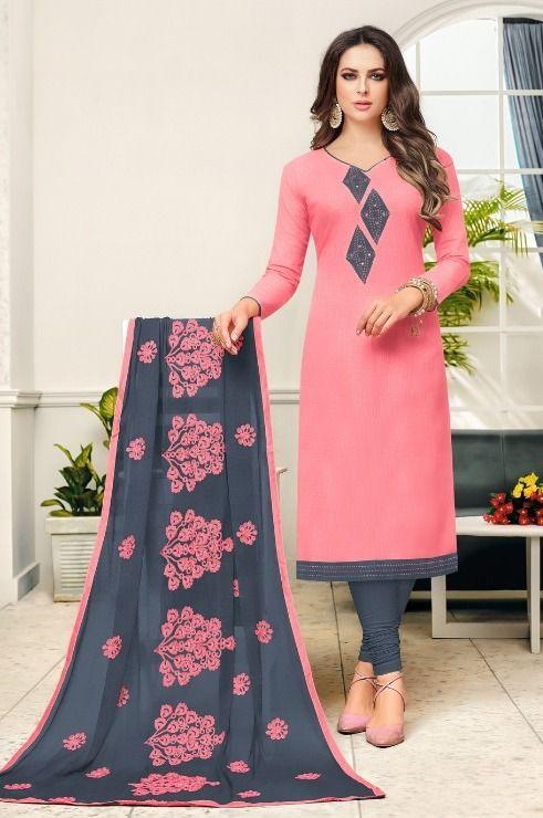 Design neck book suit ladies Cotton Churidar