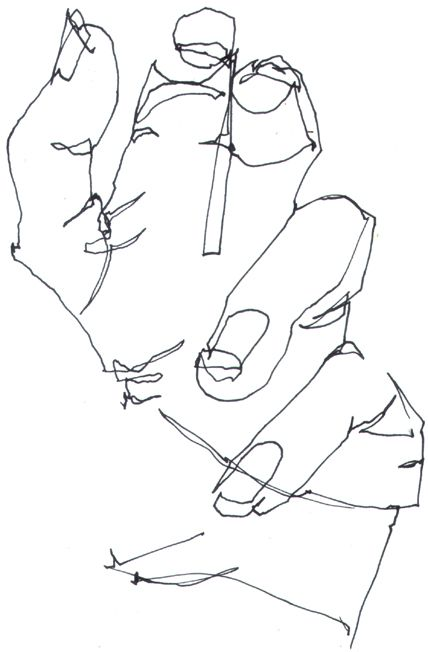 blind contour drawing (also called pure contour drawing) definition and instructions: