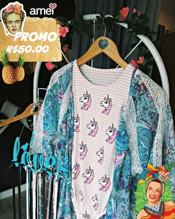 Bodys e kimonos na promo 🎉💙 #lojaamei #promo #promocao #kimono #body #unicórnio #carnaval