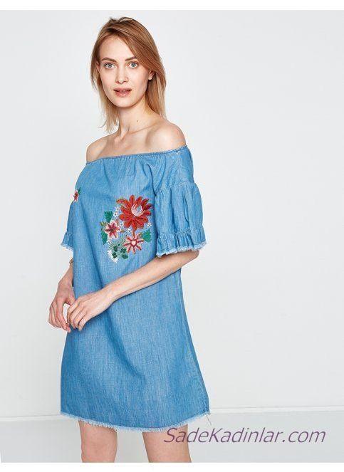 Koton Elbise Modelleri Mavi Kot Kisa Omuz Acik Dusuk Kol Nakis Islemeli Elbise Modelleri Elbise Moda Stilleri