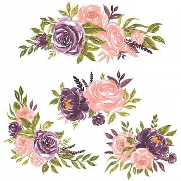 Set Of Watercolor Flowers Hand Painted Floral Illustration Bouquet Of Flowers Pink Rose And Purple Floral Watercolor Vintage Png And Vector With Transparent In 2020 Watercolor Flowers Watercolor Flower Vector Floral Illustrations