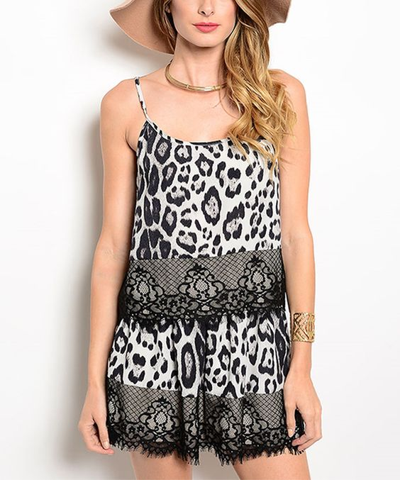 Look what I found on #zulily! White & Black Cheetah Tank & Shorts by Shop the Trends #zulilyfinds