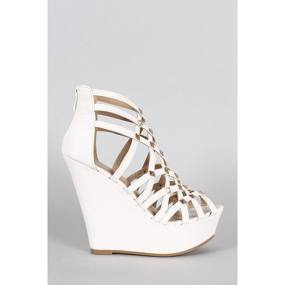 Vegan Leather Strappy Criss Cross Peep Toe Studded Wedge ($30) ❤ liked on Polyvore featuring shoes, sandals, peep toe sandals, criss cross wedge sandal, wedge heel sandals, vegan sandals and faux leather sandals