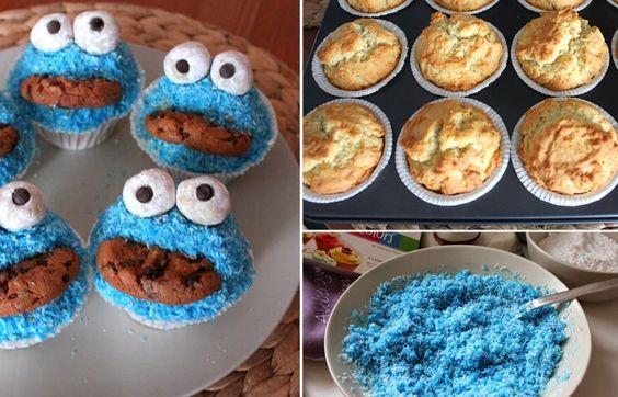 Krümelmonster-Muffins: einfaches Rezept - Soll ich? Nein! Die sind viel zu schön, um einfach reinzubeißen! Aber sie werden sonst schlecht ... Na gut, ich tu's! Richtig so! Beißt ruhig rein! Die Krümelmonster-Muffins...