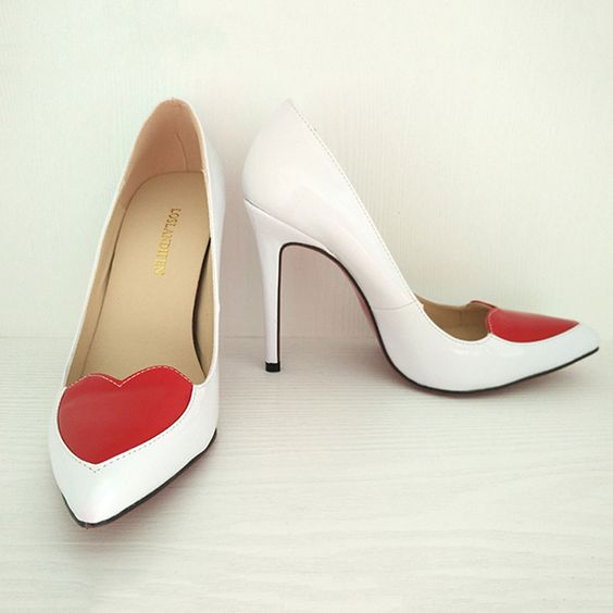 Sweet red bottom high heel women shoes pointed toe red heart white/black ladies pumps female wedding party heeled shoes 302-30RB