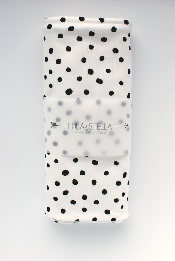 swaddle blanket Organic baby blanket in black polka dots by LolaandStella, $38.00