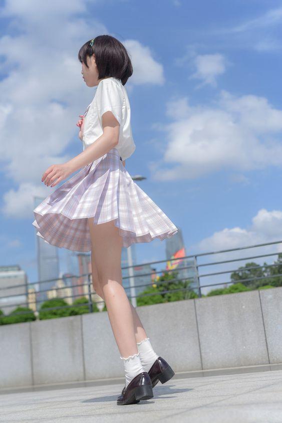 格子群 #制服美少女 旋轉格子群裙擺飄搖》#Cute #Girl #Pretty #Girls #漂亮 #可愛