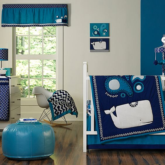 Happy Chic Baby by @JonathanAdler's Whale Nursery Collection - love the modern print, yet baby appropriate! @nojobedding