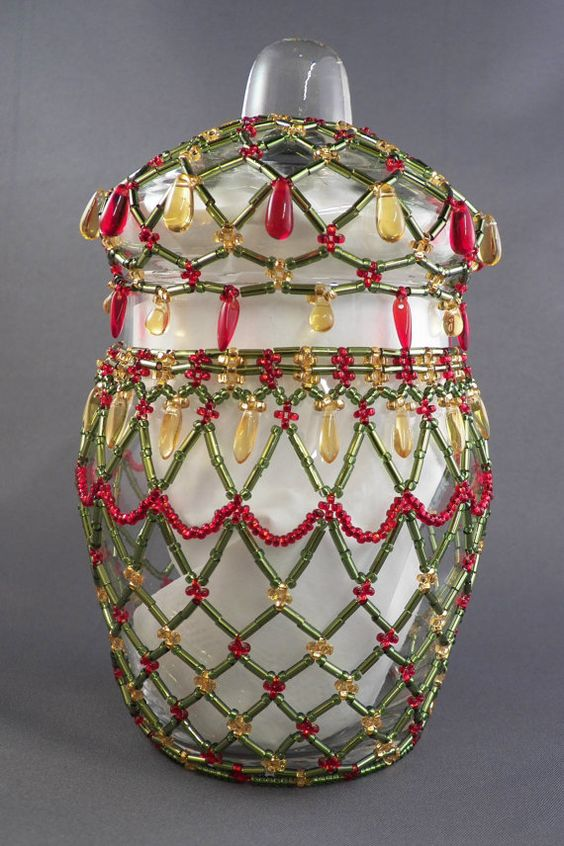 Hand beaded Christmas candy jar or candle by FairyLakeCreations, $39.00