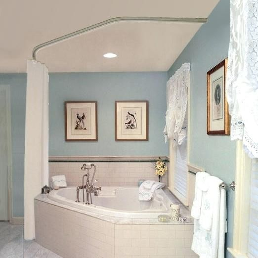 Garden Tub With Shower Curtain Rod For With Images Corner