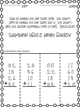 NO PREP! Add Up to Four 2 Digit Numbers | Activities, Addition ...
