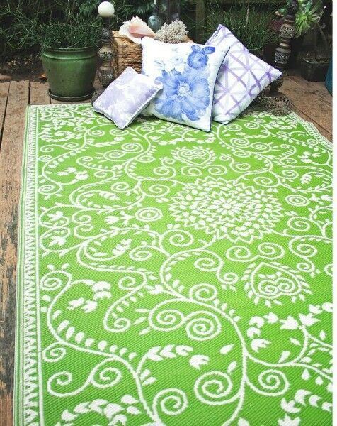 Outdoor Rug 5 X8 Lime Green Reversible Recycled Plastic Eco