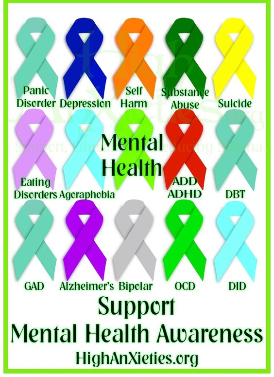 Mental Health Ribbons - these are serious conditions! Be kind to everyone you meet for you know not what they are going through!!! <3