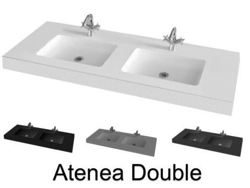 Vasques Largeur 120 Double Plan Vasque Lavabo 120 X 46 Cm En Resine Minrerale Fabrication Sur Meusure Atenea Plan Vasque Vasque Lavabo Vasque
