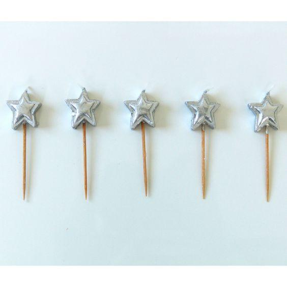5 bougies étoile argent