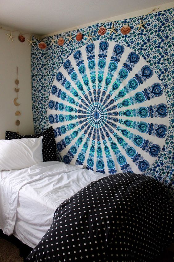 Gypsy aquamarine mandala wall tapestry blue by for Space themed tapestry