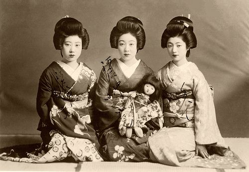 Three Geiko with a Doll 1938