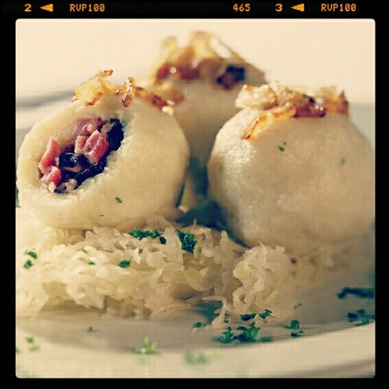 Czech meat dumplings with sauerkraut and onion. Goes well together with beer!