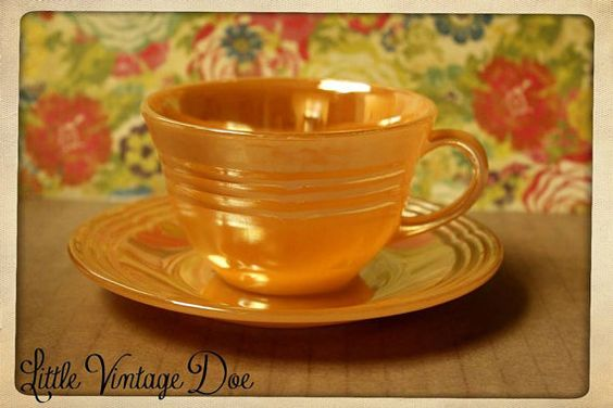Vintage Fireking Peach Luster Tea Cup & Saucer by LittleVintageDoe, $9.50 #fireking #vintage #antique #peach #luster #orange #pearl #cup #saucer #tea #1950 #housewares #collectible