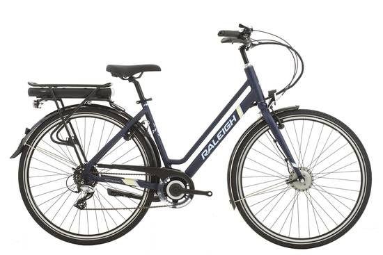 Raleigh Array Step Through Emotion Electric Bike Navy Blue Hybrid Bike Electric Bike Bikes Direct