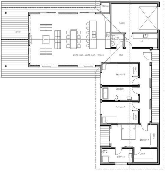 Plano de vivienda moderna con 3 dormitorios y 1 planta-2