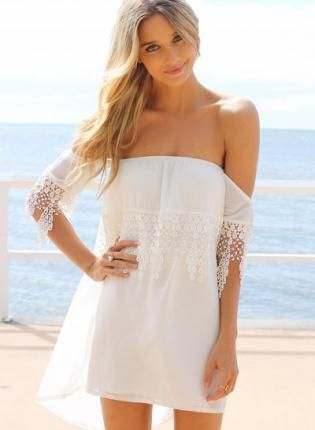 White Day Dress - White Off the Shoulder Dress http://www.ustrendy ...