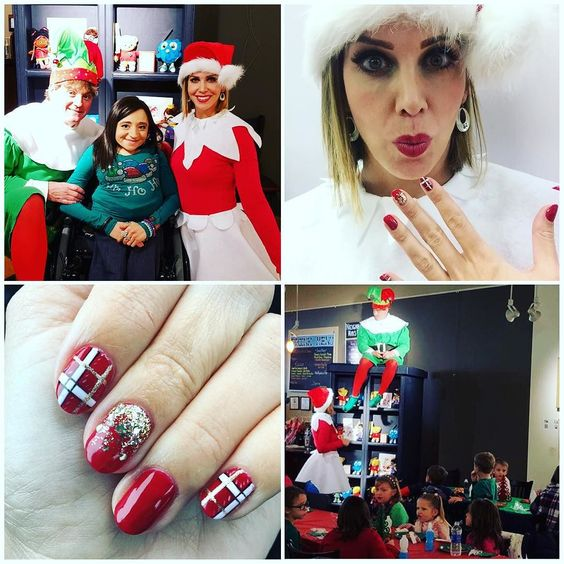 We elves stick to candy candy canes candy corns and @dallasbeautylounge manicures!   #DBLholiday #elfnails #volunteer #latrobeartcenter by katielou412