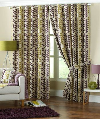 Green Curtains aubergine and green curtains : Cadiz Ready Made Curtains Aubergine | Purple Curtains | UK ...